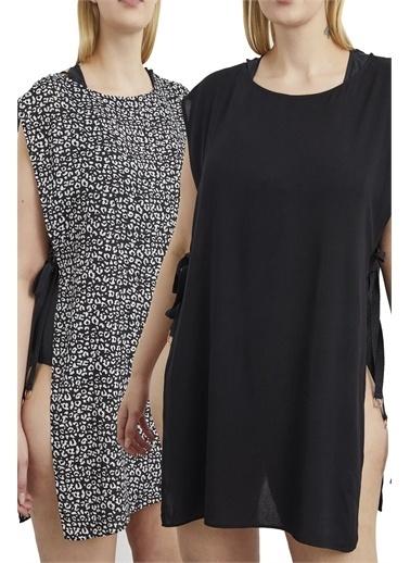 Curly Kısa Plaj Elbisesi /Desenli 2'Li Takım Siyah